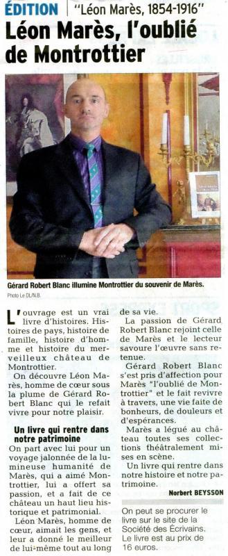Article dauphine libere du 13 mai 2014 gerard robert blanc illumine montrottier du souvenir de leon mares