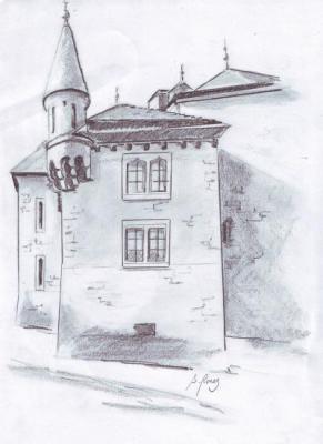 Dessin de S Rouez montrottier demeure de Léon Marès